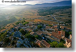 europe, fog, foggy, france, hills, horizontal, nature, provence, scenics, towns, trigance, valley, photograph