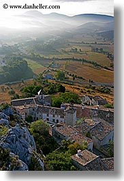 europe, fog, foggy, france, hills, nature, provence, scenics, towns, trigance, valley, vertical, photograph