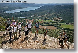 activities, europe, france, groups, hikers, horizontal, lakes, nature, people, provence, scenics, water, waving, womens, photograph
