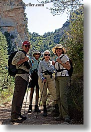 clothes, couples, europe, france, groups, hats, hikers, people, provence, two, vertical, womens, photograph