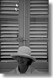 black and white, clothes, emotions, europe, france, groups, happy, hats, helanie, helanie howard greene, people, provence, vertical, womens, photograph