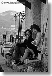 black and white, emotions, europe, france, groups, helanie, jennifer, jennifer marano, laugh, people, provence, vertical, womens, photograph