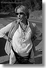 black and white, clothes, europe, france, groups, lisa, lisa halderman, people, provence, sunglasses, vertical, womens, photograph