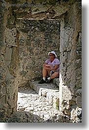 clothes, colors, europe, frames, france, groups, hats, mary, mary craig, people, pink, provence, stones, sunglasses, vertical, womens, photograph