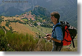 backpack, clothes, colors, europe, france, groups, hikers, hilltop, horizontal, men, nicos, people, provence, red, villages, photograph
