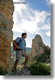 activities, backpack, clothes, clouds, europe, france, groups, hiking, men, mountains, nature, nicos, people, provence, sky, vertical, photograph
