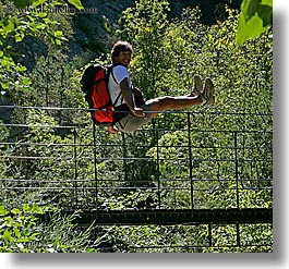 activities, backpack, bridge, clothes, colors, europe, forests, france, green, groups, hiking, men, nature, nicos, people, plants, provence, red, square format, structures, swing bridge, swings, trees, photograph