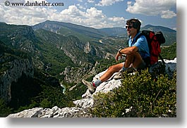 activities, backpack, clothes, clouds, colors, emotions, europe, france, groups, happy, hiking, horizontal, men, mountains, nature, nicos, people, provence, red, scenics, sky, sunglasses, viewing, photograph