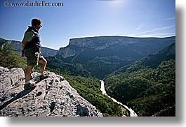 europe, france, groups, hikers, horizontal, men, overlooking, people, provence, rivers, sergio, photograph