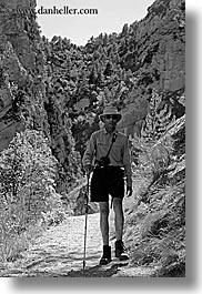 black and white, clothes, europe, france, frank, groups, hats, hikers, hiking, men, people, provence, senior citizen, sunglasses, sunny frank dicum, vertical, photograph