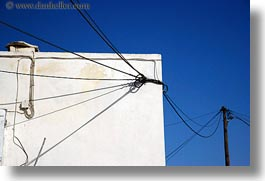 abstracts, amorgos, arts, blues, colors, europe, greece, horizontal, telephones, wires, photograph