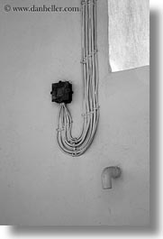 abstracts, amorgos, arts, black and white, europe, greece, vertical, wires, photograph
