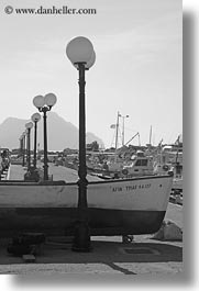 amorgos, black and white, boats, europe, greece, lamp posts, vertical, photograph
