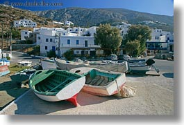 amorgos, boats, colorful, europe, greece, horizontal, towns, photograph