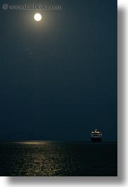 amorgos, boats, europe, ferry, full moon, greece, nature, nite, ocean, transportation, vertical, water, photograph