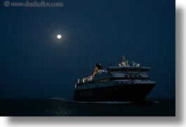 amorgos, boats, europe, ferry, full moon, greece, horizontal, nature, nite, ocean, transportation, water, photograph