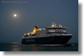 amorgos, boats, dawn, europe, ferry, full moon, greece, horizontal, nature, ocean, transportation, water, photograph