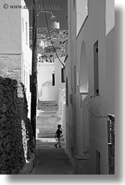 alleys, amorgos, black and white, boys, buildings, europe, greece, vertical, photograph