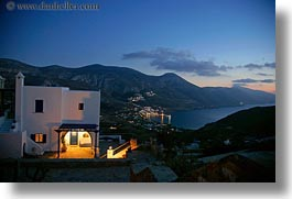 amorgos, buildings, europe, greece, harbor, horizontal, houses, nite, slow exposure, views, photograph