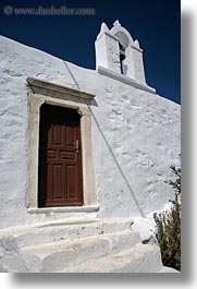 amorgos, bells, churches, doors, europe, greece, vertical, white wash, photograph