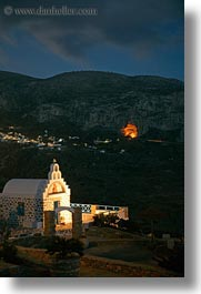 amorgos, churches, europe, greece, long exposure, mountains, nite, vertical, photograph