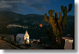 amorgos, cactus, churches, europe, greece, horizontal, long exposure, nite, photograph