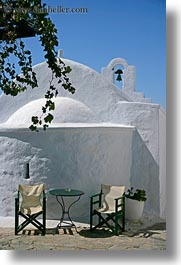 amorgos, bell towers, buildings, chairs, churches, europe, greece, structures, vertical, white wash, photograph