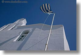 amorgos, churches, europe, flags, greece, greek, horizontal, white wash, photograph