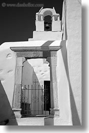 amorgos, bell towers, black and white, buildings, churches, doorways, europe, gates, greece, marble, structures, vertical, white wash, photograph