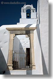 amorgos, bell towers, buildings, churches, doorways, europe, gates, greece, marble, structures, vertical, white wash, photograph