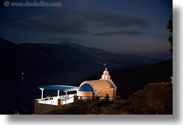 amorgos, churches, europe, greece, horizontal, long exposure, mountains, nite, ocean, white wash, photograph