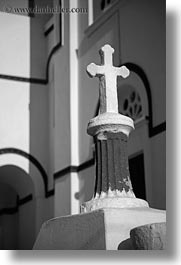 amorgos, black and white, churches, crosses, europe, greece, tholaria, vertical, white wash, photograph
