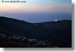 amorgos, churches, europe, greece, hills, horizontal, nature, sky, sun, sunsets, photograph