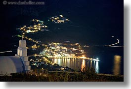 amorgos, churches, europe, greece, harbor, horizontal, long exposure, nite, overlooking, photograph