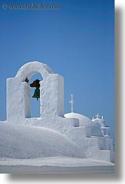 amorgos, bell towers, bells, buildings, churches, europe, greece, roofs, structures, vertical, white wash, photograph