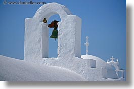 amorgos, bell towers, bells, buildings, churches, europe, greece, horizontal, roofs, structures, white wash, photograph