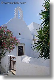 amorgos, bell towers, buildings, churches, europe, gates, greece, structures, trees, vertical, white wash, photograph