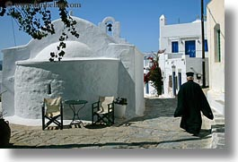 amorgos, bell towers, buildings, churches, europe, greece, horizontal, priests, religious, structures, walking, white wash, photograph