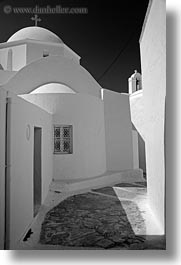 amorgos, black and white, churches, doors, europe, greece, narrow, streets, vertical, white, white wash, photograph