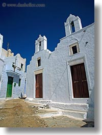 amorgos, bell towers, buildings, churches, doors, europe, greece, narrow, streets, structures, vertical, white, white wash, photograph