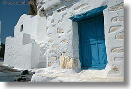 amorgos, blues, doors, doors & windows, europe, greece, horizontal, stones, white wash, photograph