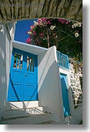 amorgos, archways, blues, doors, doors & windows, europe, flowers, greece, structures, vertical, photograph