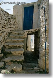 amorgos, archways, blues, doors, doors & windows, europe, greece, stairs, structures, tunnel, vertical, photograph