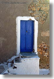 amorgos, blues, doors, doors & windows, europe, greece, stones, vertical, walls, photograph