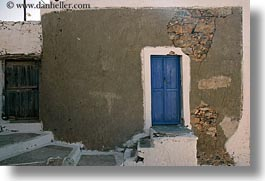 amorgos, blues, doors, doors & windows, europe, greece, horizontal, stones, walls, photograph