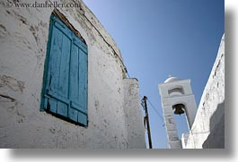 amorgos, bell towers, blues, doors & windows, europe, greece, horizontal, upview, white wash, windows, photograph