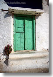 amorgos, doors, doors & windows, dried, europe, flowers, greece, green, vertical, white wash, photograph