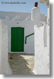 amorgos, chimney, doors, doors & windows, europe, greece, green, pots, red, vertical, white wash, photograph