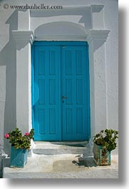 amorgos, blues, doors, doors & windows, europe, geraniums, greece, lights, vertical, photograph
