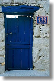 amorgos, blues, doors, doors & windows, europe, greece, old, stones, vertical, walls, white, white wash, photograph